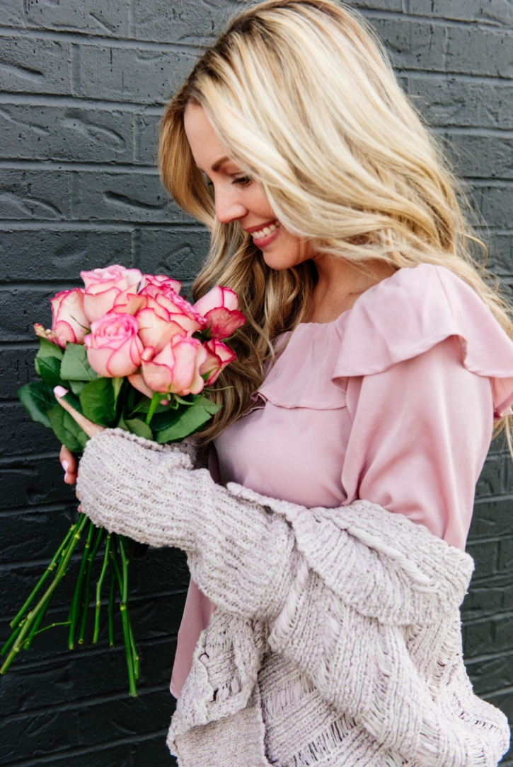 valentines day outfit pink cardigan