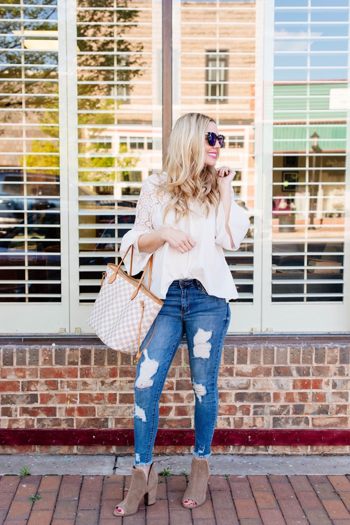 affordable spring outfit white bell sleeved top sts blue denim nordstrom