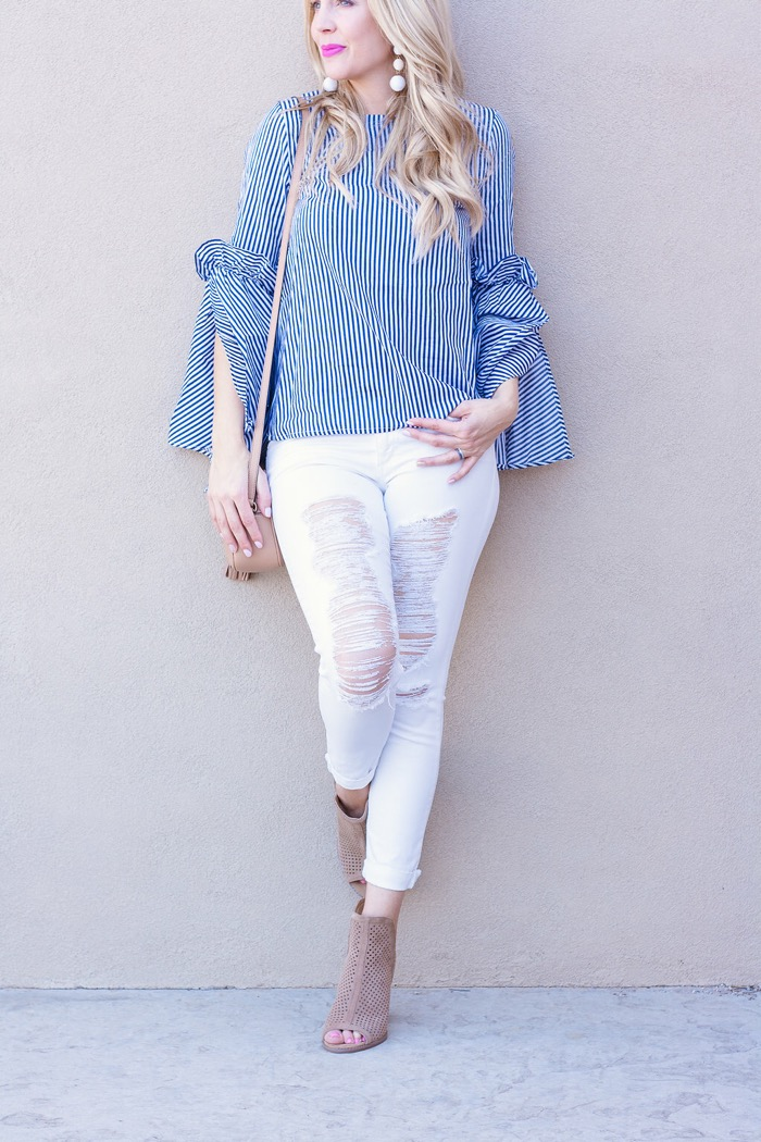 blue white striped shirt baublebar earrings mesh booties white ripped denim