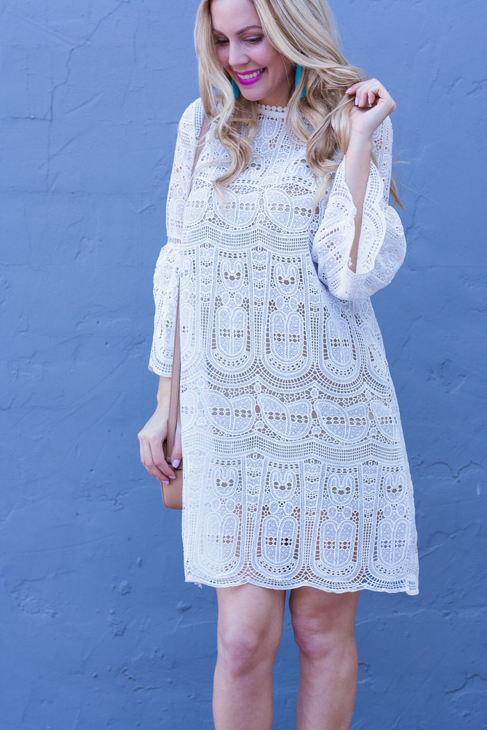 white crochet dress mac candy yum yum lipstick spring outfit