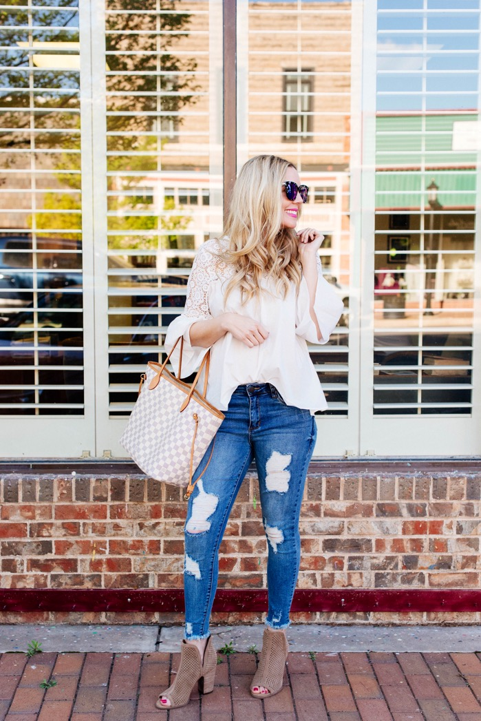 distressed denim white bell sleeve top