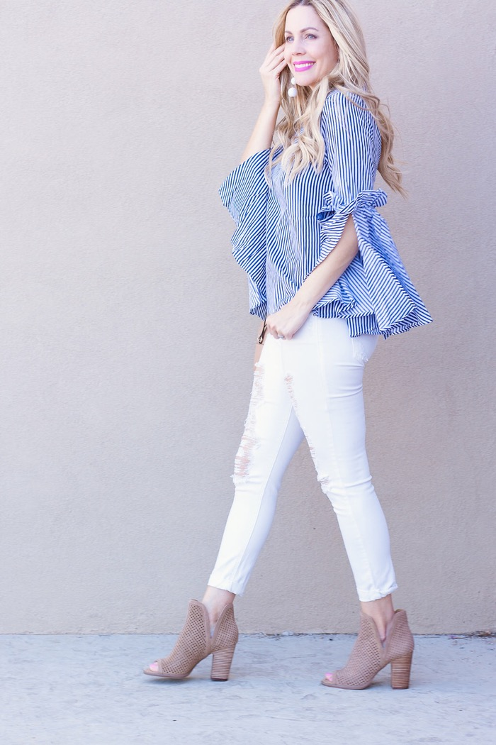 blue white striped shirt baublebar earrings mesh booties white denim
