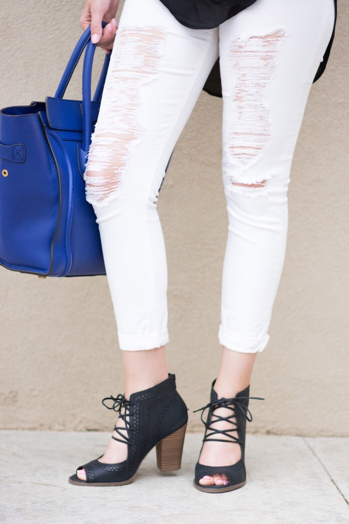 cute summer sandals white distressed denim