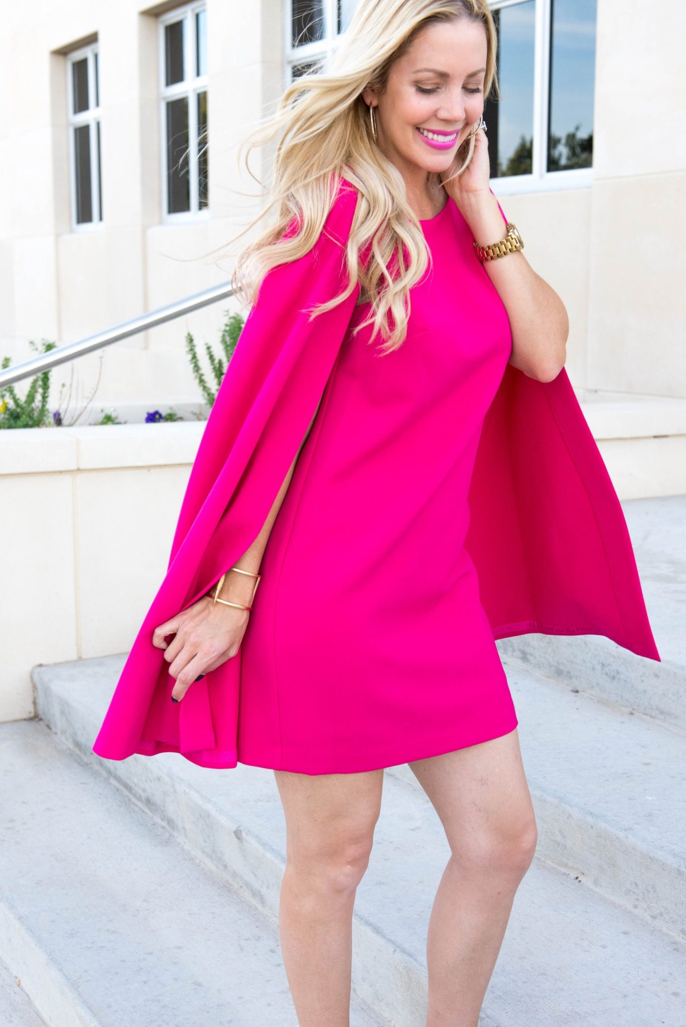 Trina Turk fuchsia cape dress