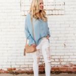 gucci disco cross body bag white distressed denim blue spring blouse spring outfit ideas