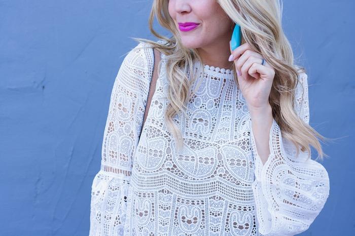 chicwish white crochet dress mac candy yum yum lipstick