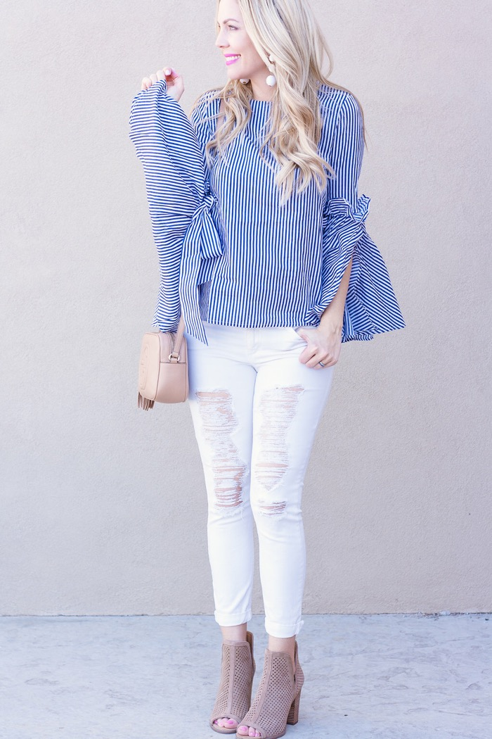 blue white striped shirt white distressed denim mesh open toe booties spring fashion