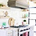 grey custom vent hood kitchenaid professional range brass library lights