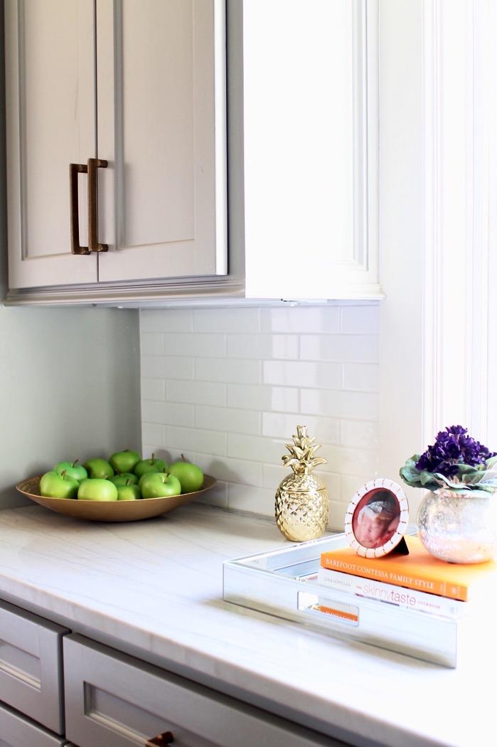 kitchen countertops green apples brass pineapple decor marble countertops