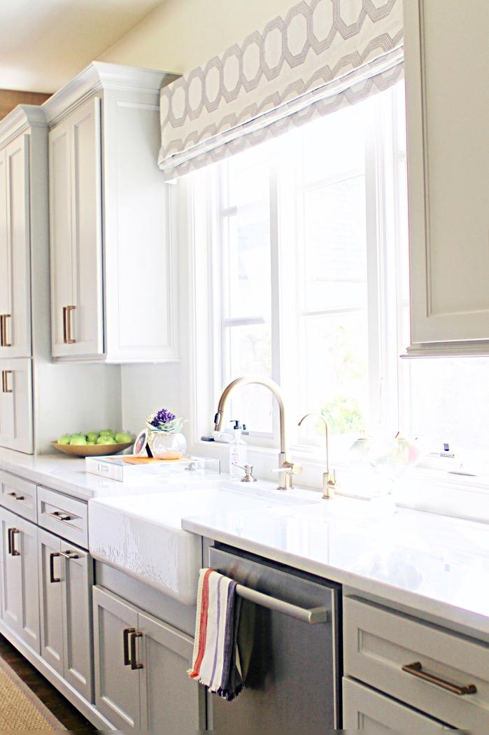 grey kitchen brass faucet delta custom window treatment