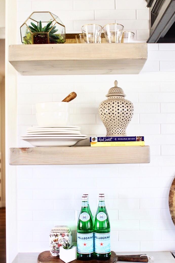 reclaimed shelving kitchen decor white modern subway tile backsplash