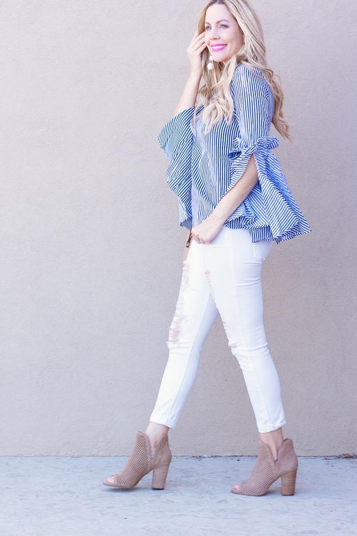 blue white striped shirt baublebar earrings mesh booties white denim