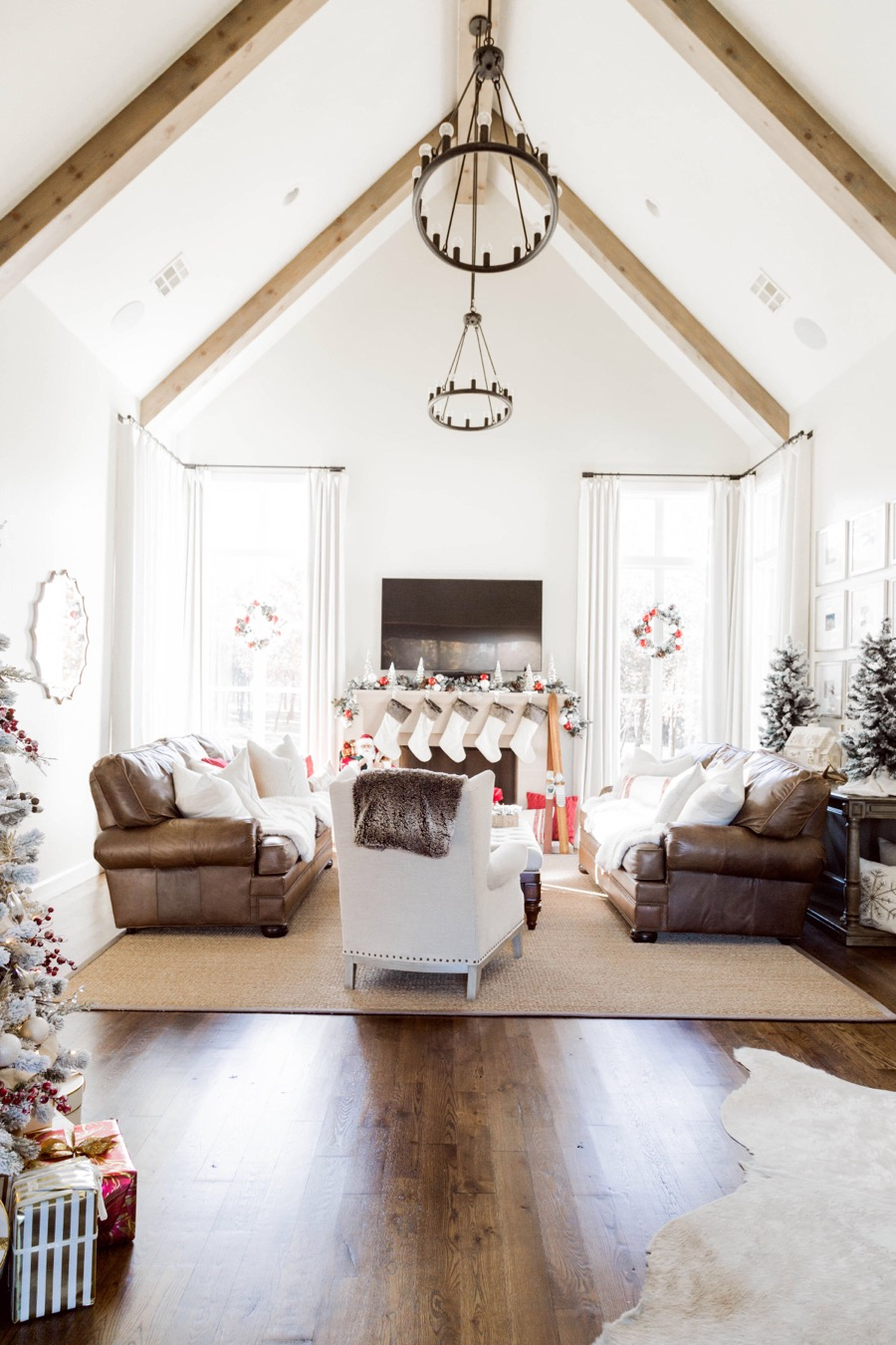 Red and White Christmas Living Room Tour | Curls and Cashmere